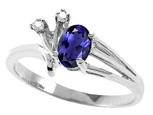 Tommaso Design Oval 6x4mm Genuine Iolite Ring 14 kt White Gold Size 8.5 ()