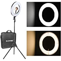 12 inch ZOMEI Camera Photo Video Lighting Kit: 14 inch Outer 55W 5500K Dimmable LED Ring Light, Light Stand, Phone Holder Smartphone, YouTube, Vine Self-Portrait Video Shooting