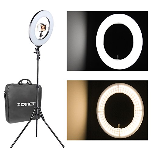 ZOMEI Make Up Ring Light Dimmable Ring Video Light With Universal Phone Clamp Ball Head Hot Shoe Mount Adapter