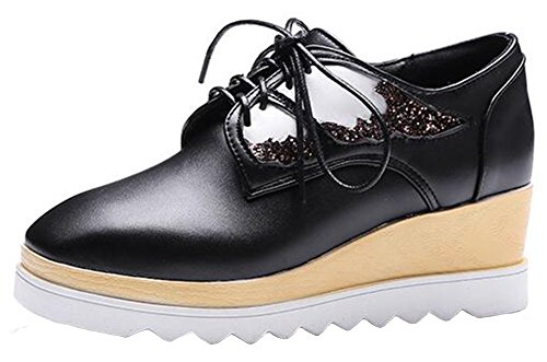 Summerwhisper Womens Trendy Sequins Wings Square Toe Lace up Wedge Medium Heel Platform Oxfords Shoes Black