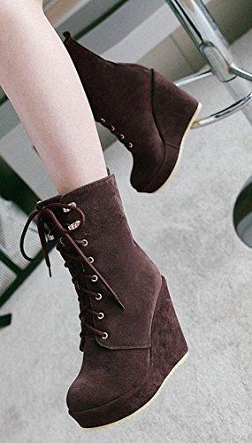 Lace Toe Women's Boots Aisun Dress Comfort Wedge Round High Platform Coffee Cute Booties Heel Ankle Up aIddqKwzx6