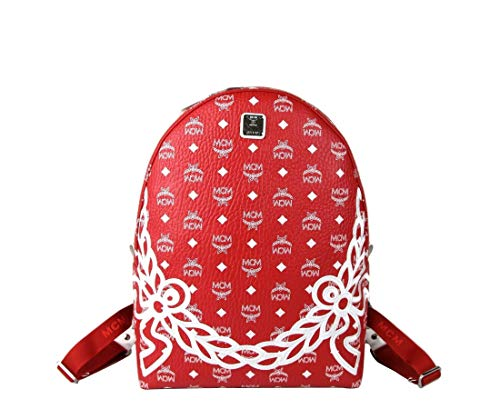 MCM Red White Dietrich Laurel Monogram Medium Visetos Backpack MMK8SDI05RV001
