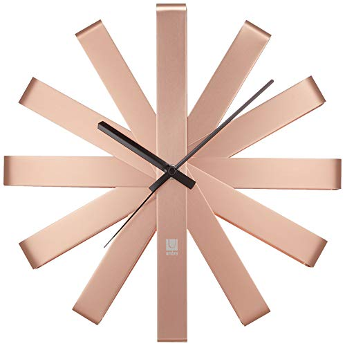 Umbra Ribbon Modern 12-inch Wall Clock, Battery Operated...