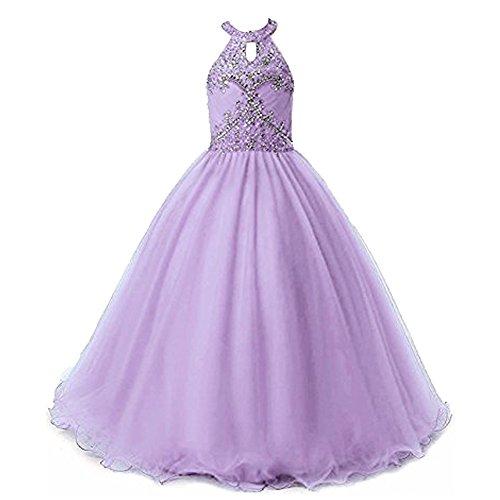 Big Girls Halter-Neck Floral Beads Junior Bridesmaid Dress Party Wedding Long Gown Lavender,Size 12