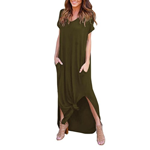 KMG Kimloog Women's Short Sleeve Summer Casual Loose T-Shirt Long Maxi Dress Side Split Beach Sundress (M, Army Green)
