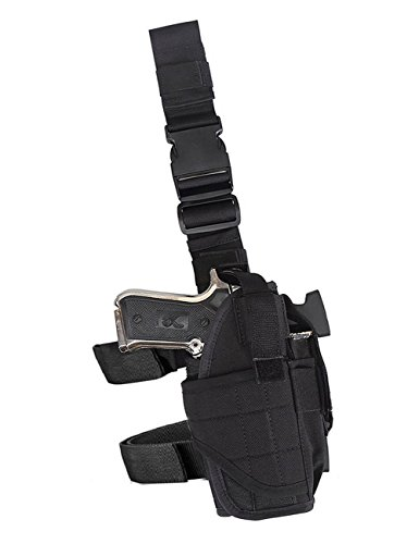 Molle Tactical Pistol Thigh Gun Holster, Drop Leg Holster, Right Hand Adjustable.
