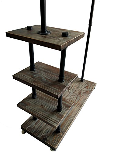 Diwhy Industrial Pipe Clothing Rack Pine Wood Shelving Shoes Rack Cloth Hanger Pipe Shelf 4 Layer by Diwhy (Image #6)
