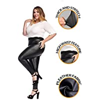 MCEDAR Women's Faux Leather Leggings Plus Size Girls High Waisted Sexy Skinny Pants for Causal, Club, Night Out