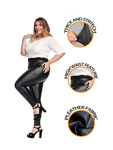 MCEDAR Women's Faux Leather Leggings Plus Size Girls High Waisted Sexy Skinny Pants (XXXL, Black) ()