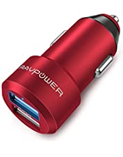 RAVPower Car Charger 24W 4.8A Metal Dual Car Adapter for iPhone X/8/8 Plus, S9/S8/S7/S6/Edge/Plus, Note 5/4, LG, Nexus, HTC with iSmart 2.0 Tech – Red