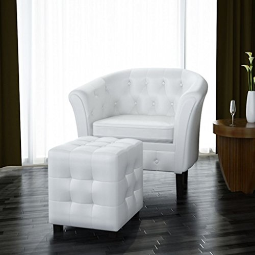- Leather Tub/Barrel Club Chair Armchair w/Ottoman Foot Stool, Living Room Office Furniture, White