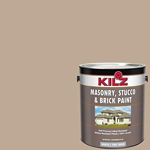 KILZ 13510901 L340711 Interior/Exterior Self-Priming Masonry, Stucco and Brick Flat Paint, 1 Gallon, Clay (Medium Tan)