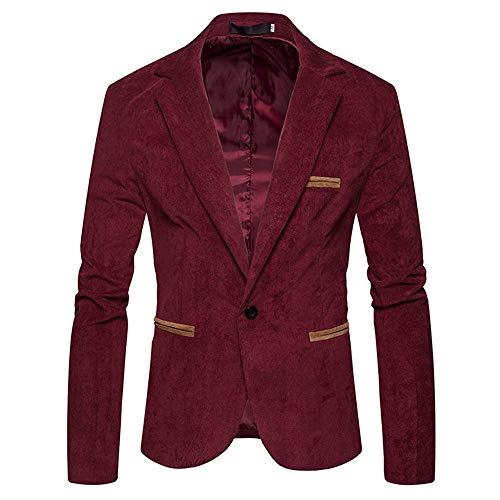 (haoricu Men's Autumn Winter Casual Corduroy Suit Jacket Blazer Slim Fit Long Sleeve Coat Top Red)