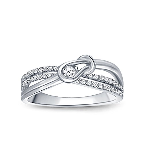 1/8 cttw Diamond Love Knot Promise Ring in Sterling Silver (IJ/I2-I3)