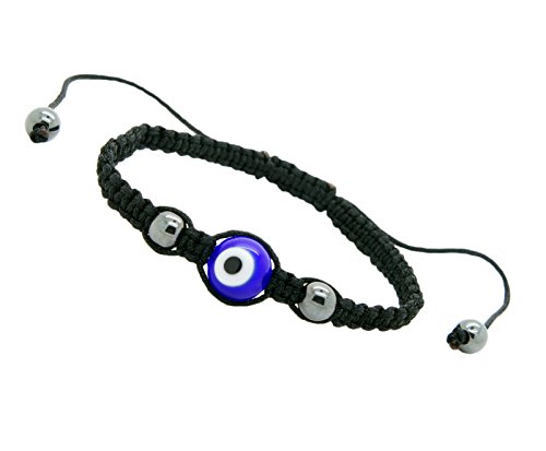 Evil Eye Good Luck Bracelet Glass Colors Adjustable Size Nylon Cord (Blue)