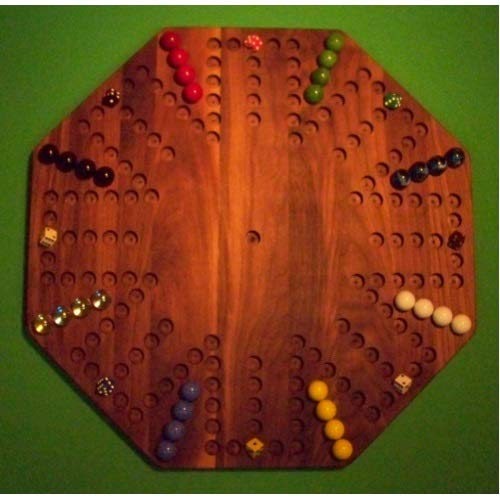 - THE PUZZLE-MAN TOYS W-1955 Wooden Marble Game Board - Aggravation - New 22 in. Octagon - 8-Player 6-Hole - Walnut
