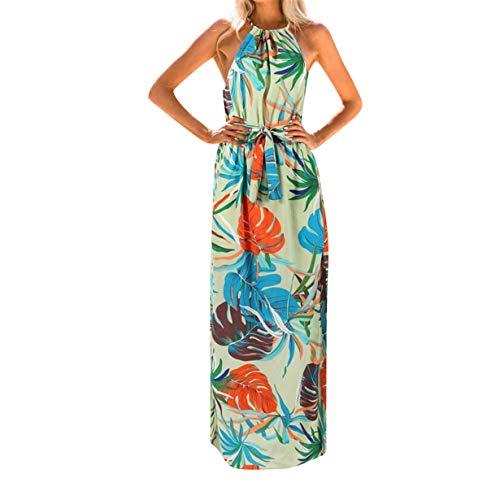 Tmj Halter - Split Maxi Dress Haalife◕‿ Women's Summer Halter Neck Floral Print Backless Split Beach Party Maxi Dress for Autumn Green