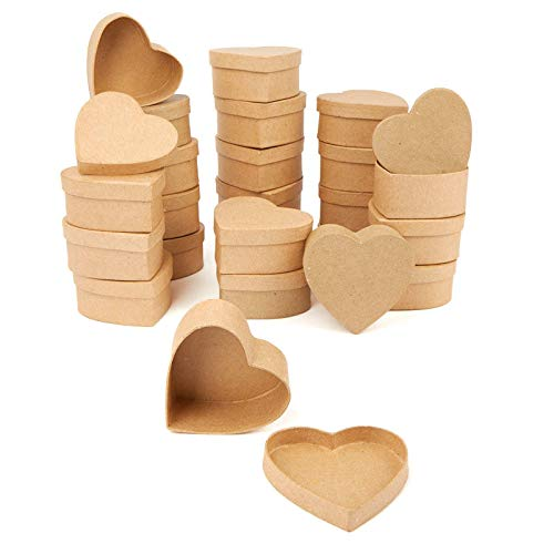 Factory Direct Craft Paper Mache Heart Shaped Boxes | 24 Box Set