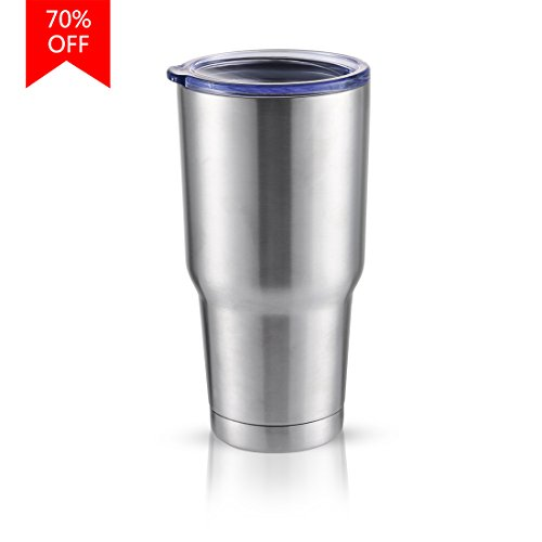 Masvis 30oz Tumbler Vacuum Insulated Stainless Steel Coffee Cup with Lid, Straws - Travel Mug Works Great for Ice Drink, Hot Beverage (Beverage Stainless Travel Mug)