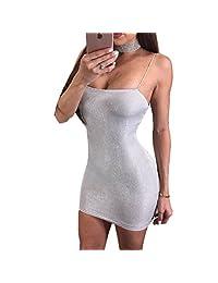 New Arrive - Vestido sexy para mujer, de verano, plateado, sin mangas, venda delgada, bodycon