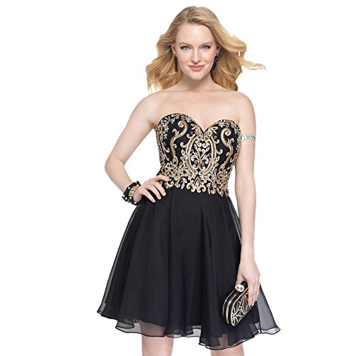 Alyce Paris Strapless Tulle Cocktail Dress Black/Gold – 12