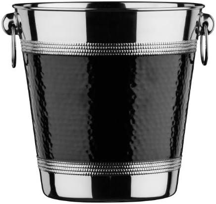 Premier Housewares 0507784 Sektkühler mit  gehämmert Schwarz Band, Edelstahl