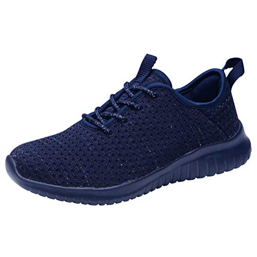 KONHILL Women's Comfortable Running Sneakers - Gold Threads Casual Athletic Sport Walking Shoes, All Navy, 42