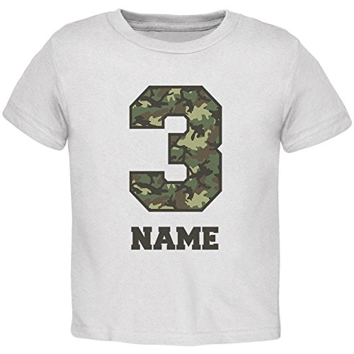 Custom Birthday Kid Camo 3 3rd Third Personalize Name Toddler T Shirt White 4T ()