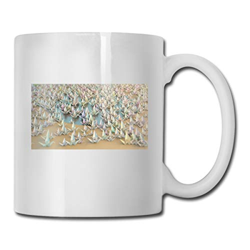 Porcelain Coffee Mug Origami Cranes Ceramic Cup Tea Brewing Cups for Home Office ()
