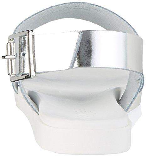 Femme Colour Silver Pslane Argent Compensées Sandales Pieces Silver Leather qn1wWSz6