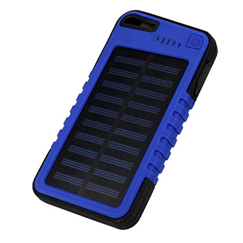 Mchoice 20000 mah Dual-USB Waterproof Solar Power Bank Battery Charger for Cell Phone (Blue)