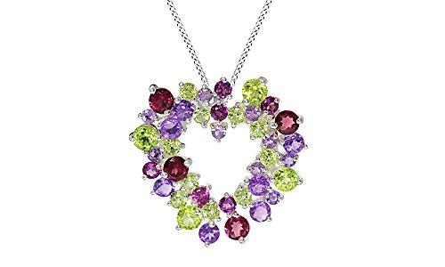 Jewel Zone US Simulated Green Peridot, Amethyst & Rhodolite Garnet CZ Heart Pendant Necklace 925 Sterling Silver
