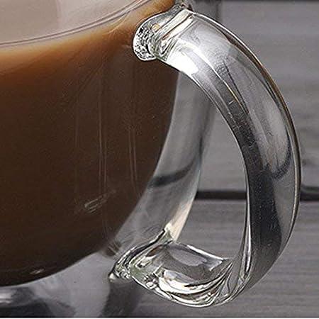 2 pcs Famyfamy Resistente Al Calor Mango Taza de Caf/é Taza de T/é Caf/é Doble Capa Cristal Mango Caf/é Taza como Se Muestran