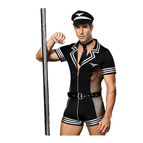 BlueSpace Men's Policeman Costume Sexy Cop Cosplay Uniform Set Role Play Costumes Lingerie for Halloween ()
