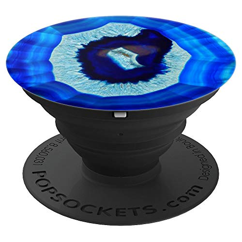 (Agate Snow Blue Stone Rare Beautiful Gems Crystal Mineral - PopSockets Grip and Stand for Phones and Tablets)