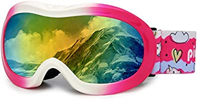 PP PICADOR Kids Ski Goggles, Kid Snow Snowboard Goggles for Boys Girls 4-7 with Over Glasses OTG Design Anti-Fog Lens...