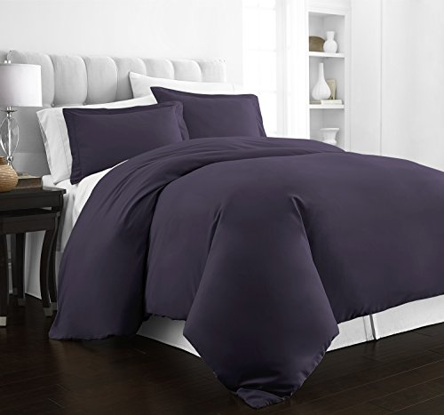 Beckham Hotel Collection Luxury Soft Brushed 2100 Series Microfiber Duvet Cover Set - Hypoallergenic - King/California King - Purple (Purple Duvet Cover Set)