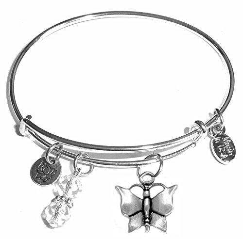 Beautiful Charm Butterfly - Message Charm (22 words to choose from) Expandable Wire Bangle Bracelet, in the popular style, COMES IN A GIFT BOX! (Butterfly)