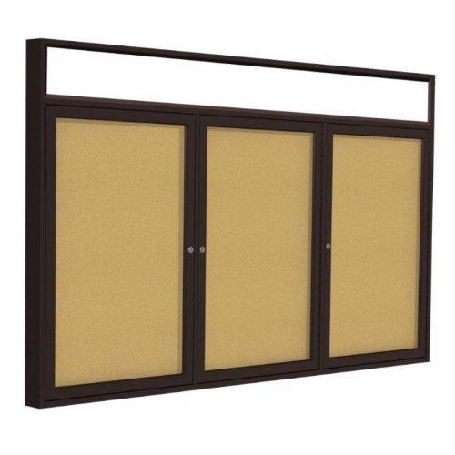 3-Door Aluminum Frame Enclosed Bulletin Board Frame: Bronze Aluminum Indoor, Size: 48