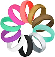 COOLOO 10 Pack Silicone Wedding Ring for Women, Premium Medical Grade Wedding Bands Thin and Stackable Durable
