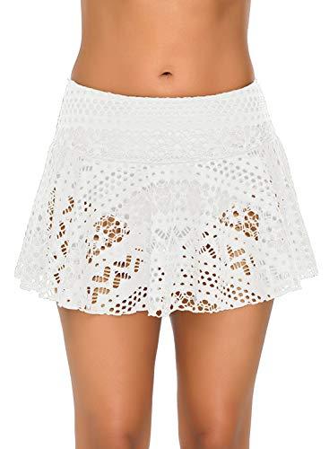 (XAKALAKA Women's Lace Crochet Skirted Bikini Bottom Swimsuit Short Skirt Swimdress White XL)