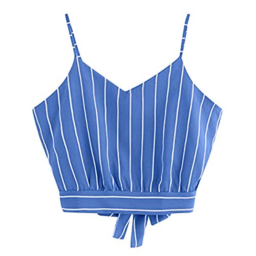 (TianjinrouyiWomens Tank Tops Tie Back Print Activewear Shirt Casual Blouse Camisole Vest Sky Blue)
