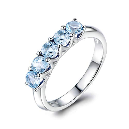 EoCot Custom Size Silver Plated Ring for Women 5 Round Blue Topaz White Gold Round Promise Wedding Engagement Ring Size 10.5