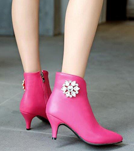 Idifu Strass Moda Donna Con Tacchi A Spillo Medio Alti Alla Caviglia Con Cerniera Rosa Rossa