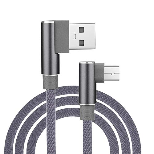 Htc Cables - Micro USB 3.3ft Right Angle L Shape V8 USB 2.0 Charging Data Linen Cable for Samsung Kindle HTC, Motorola Nokia LG Android Smartphones Galaxy S7 Edge J7 Note 5 MP3 Tablet Sony (Gray)