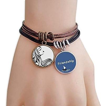 ProDIY Beautiful Long Curly Hair Lady Silhouette Friendship Bracelet Leather Rope Wristband Couple Set Estimated Price -