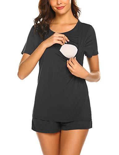 Ekouaer Pregnancy Breastfeeding for Hospital Set Breast Feeding Loungewear Black L