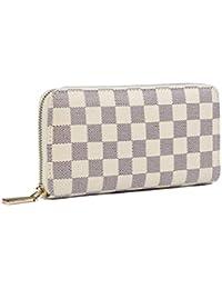 Women's Checkered Zip Around Wallet and Phone Clutch - RFID Blocking with Card Holder Organizer -PU Vegan Leather