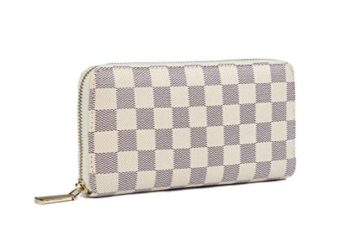 Wallet Print Chain - Daisy Rose Women's Checkered Zip Around Wallet and Phone Clutch - RFID Blocking with Card Holder Organizer -PU Vegan Leather, Cream