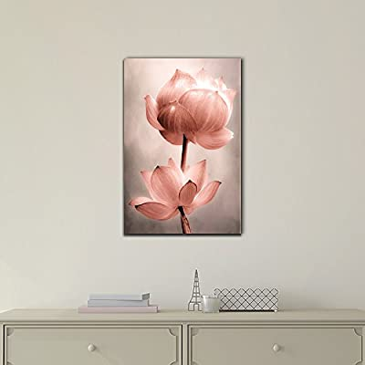 Canvas Wall Art - Lotus Flowers - Gallery Wrap Modern Home Art | Ready to Hang - 12x18 inches